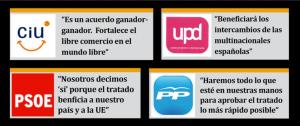 PARTIDOS POLITICOS DE LA CASTA FAVORABLES AL TTIP